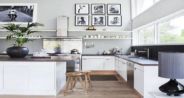 organisation décoration cuisine blanc noire