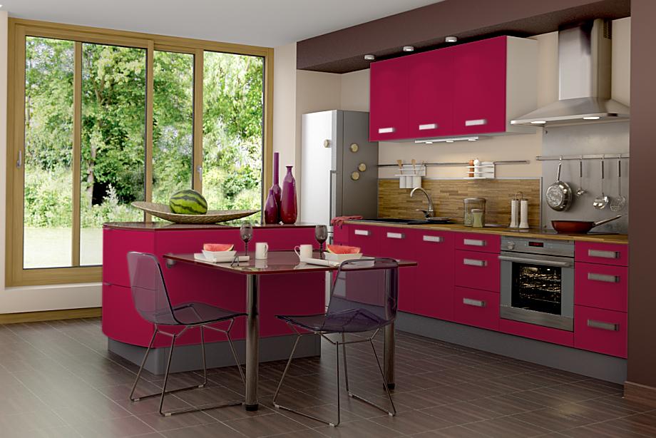 organisation décoration cuisine couleur framboise