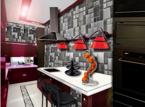 agencement décoration murale cuisine contemporaine