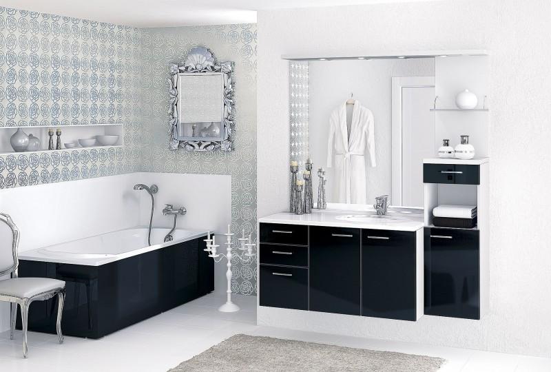 photo décoration salle de bain noir