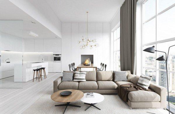 idée décoration salon beige blanc