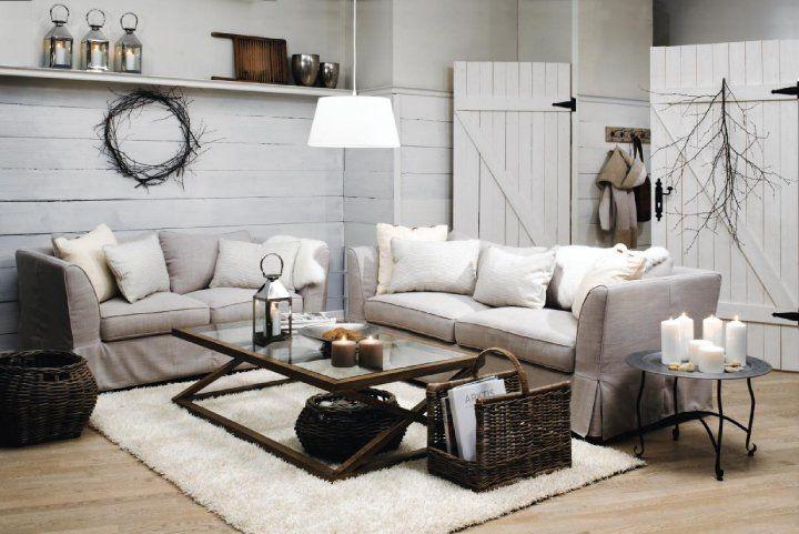 agencement décoration salon beige blanc