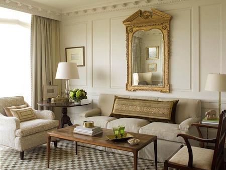 modèle décoration salon beige blanc
