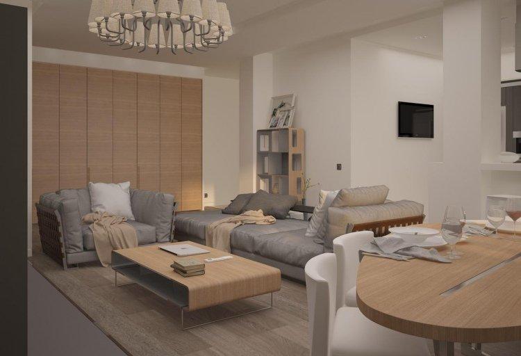 idée décoration salon gris et bois
