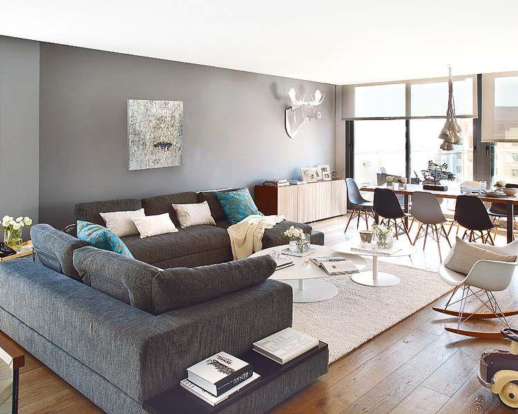 exemple décoration salon gris et bois