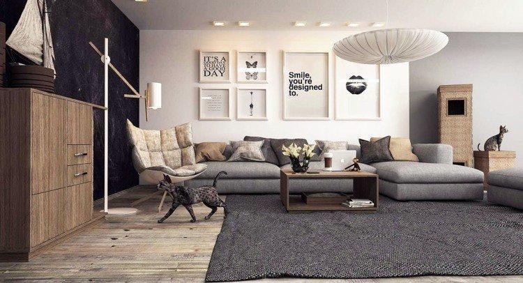univers décoration salon gris et bois