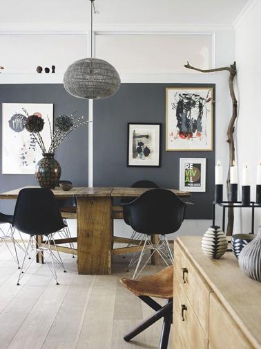 organisation décoration salon gris et bois