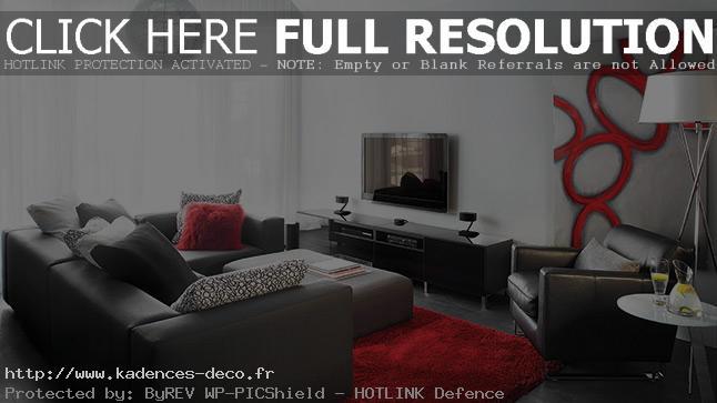 Décoration salon noir gris rouge