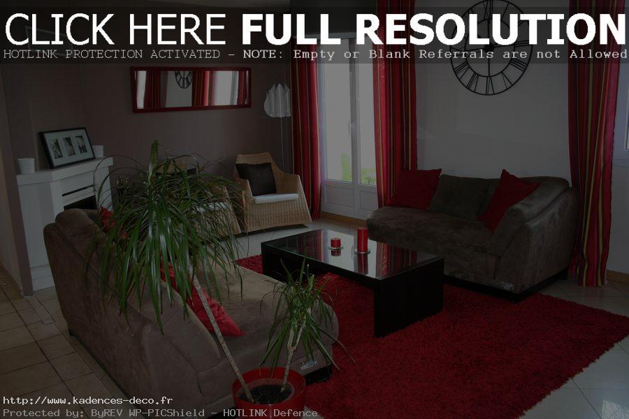 Décoration salon rouge taupe