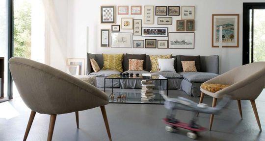 exemple décoration salon sol gris