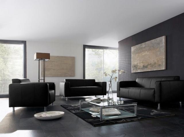 agencement décoration salon sol gris