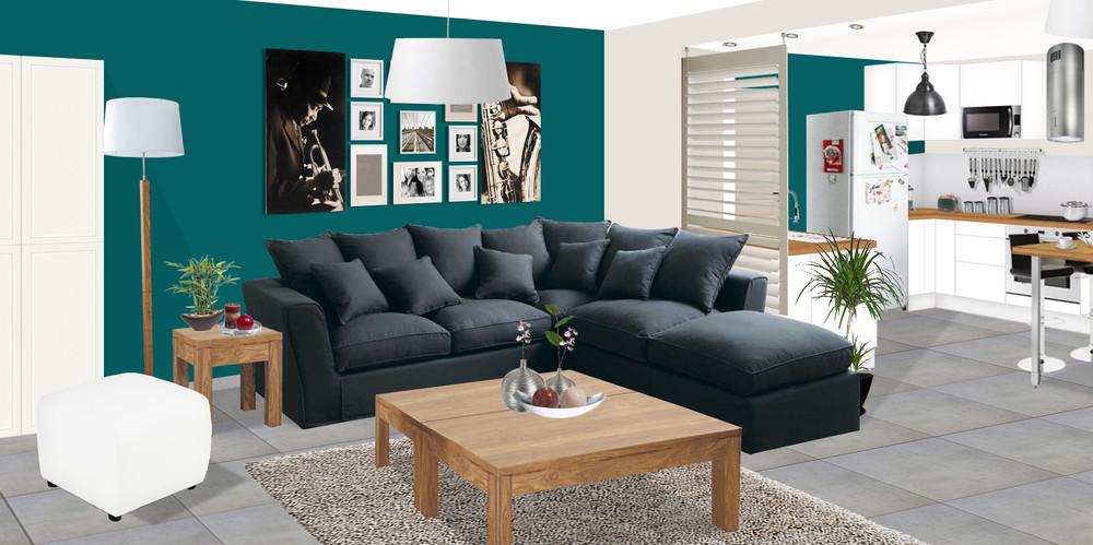 modèle décoration salon sol gris