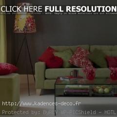décoration salon vert rouge
