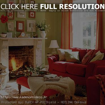 idée décoration salon vert rouge