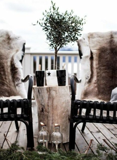 idée décoration terrasse en hiver
