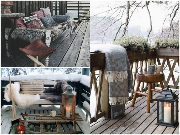 exemple décoration terrasse en hiver