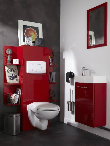 aménagement décoration toilettes rouge et gris