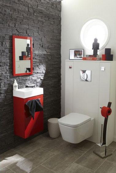 exemple décoration toilettes rouge et gris