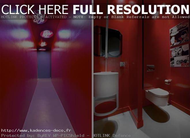 organisation décoration toilettes rouge et gris